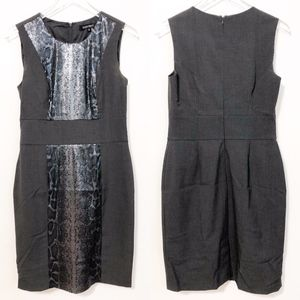 Ellen Tracy Grey Sequin Panel Sheath Dress